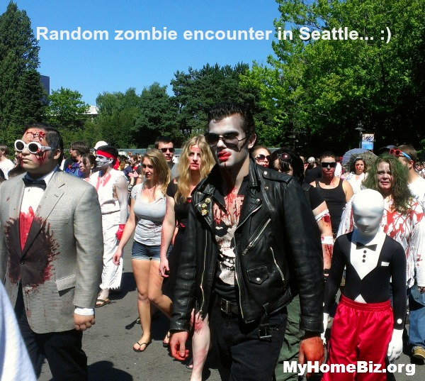 A Solavei home biz bonus...catching a Seattle zombie parade!