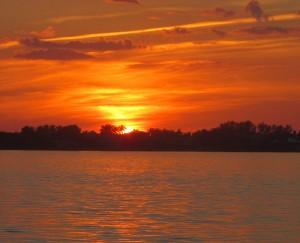 Sunset over Sanibel Island on a home biz excursion.